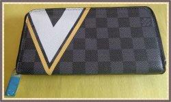 Black Gray White & Yellow Checkered Long Zippy Wallet For Women