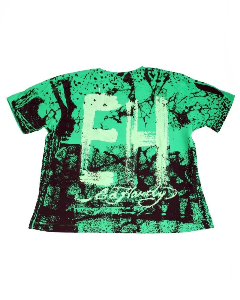 Image 1 of Ed Hardy Boys' Mystery Sparrow on A Mission Tee Shirt Green