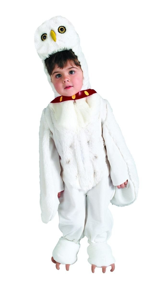 Image 1 of Harry Potter Hedwig Owl Costume, Plush White Faux Fur Jumpsuit/Headpiece 884257