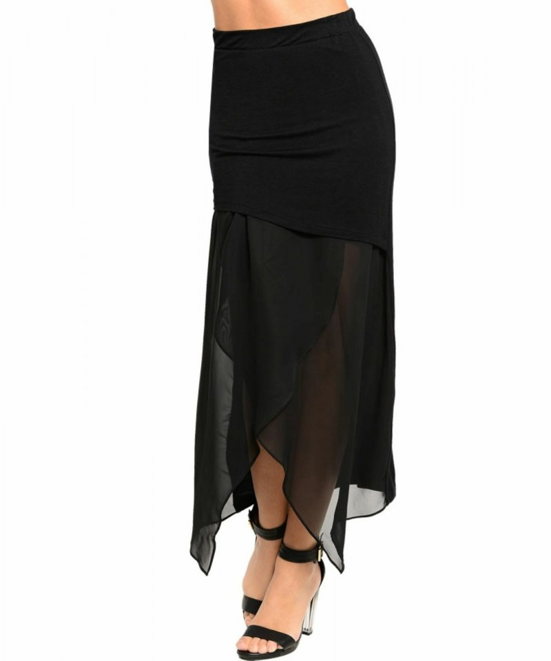 Image 0 of Chic Black Chiffon Maxi Lined Skirt, Gypsy Hem, Juniors, Cocktail Club Party