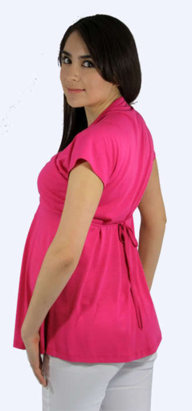 Image 2 of Flirty Hot Pink Princess Peasant Top/White Pants Maternity Set for Work/Play USA