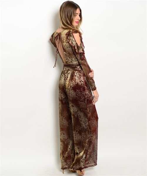 Image 1 of Sexy Wine and Gold Chiffon Lined Jrs Party Romper Jumpsuit S, M, L USA - Wine Go