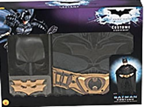 Image 1 of Rubies Batman Boxed Costume Black Jumpsuit/Cape/Mask/Belt/2 Batarangs, Boys Lg