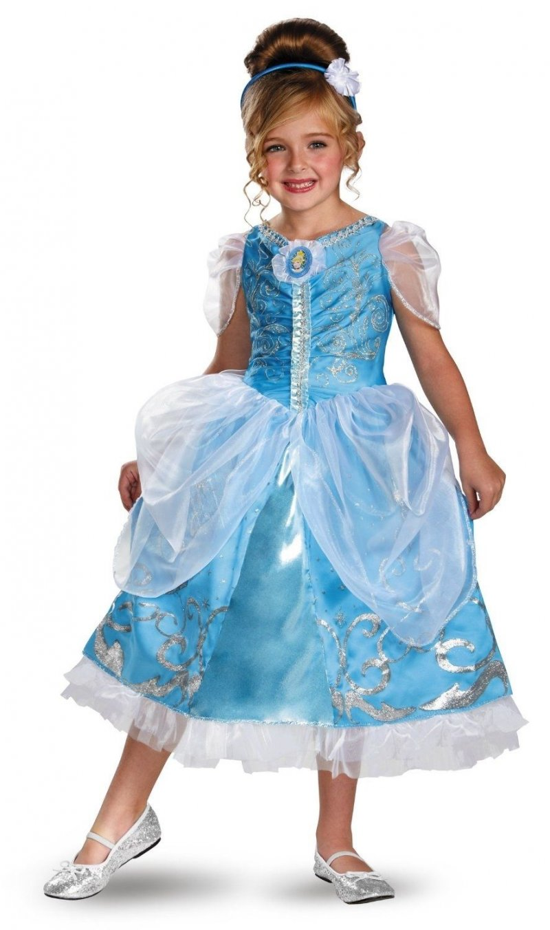 Image 0 of Disney Cinderella Princess Sparkle Deluxe Polyester Girls Costume Blue/White