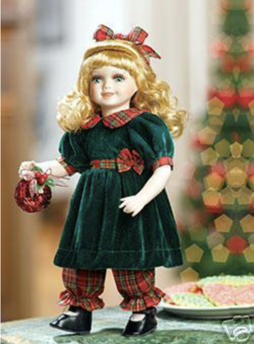 Image 0 of Rachel Porcelain Doll, Green & Red w/Ornament Heritage Signature Collection 13