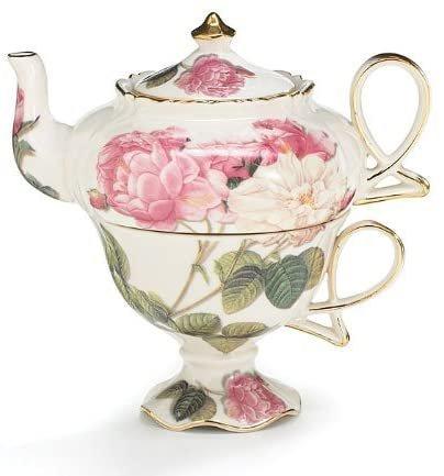 Image 0 of Elegant Romantic Rose Victorian Porcelain Teapot And Teacup Duo, Burton + Burton