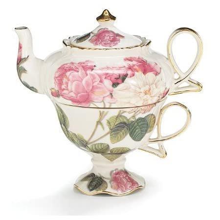 Image 1 of Elegant Romantic Rose Victorian Porcelain Teapot And Teacup Duo, Burton + Burton