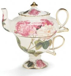 Elegant Romantic Rose Victorian Porcelain Teapot And Teacup Duo, Burton + Burton