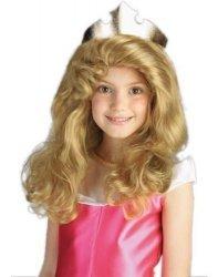 Maleficent- Aurora Disney Child Long Blonde Wig, Rubies