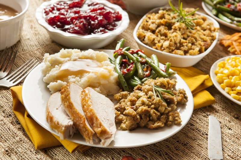 Plates of Thanksgiving Food