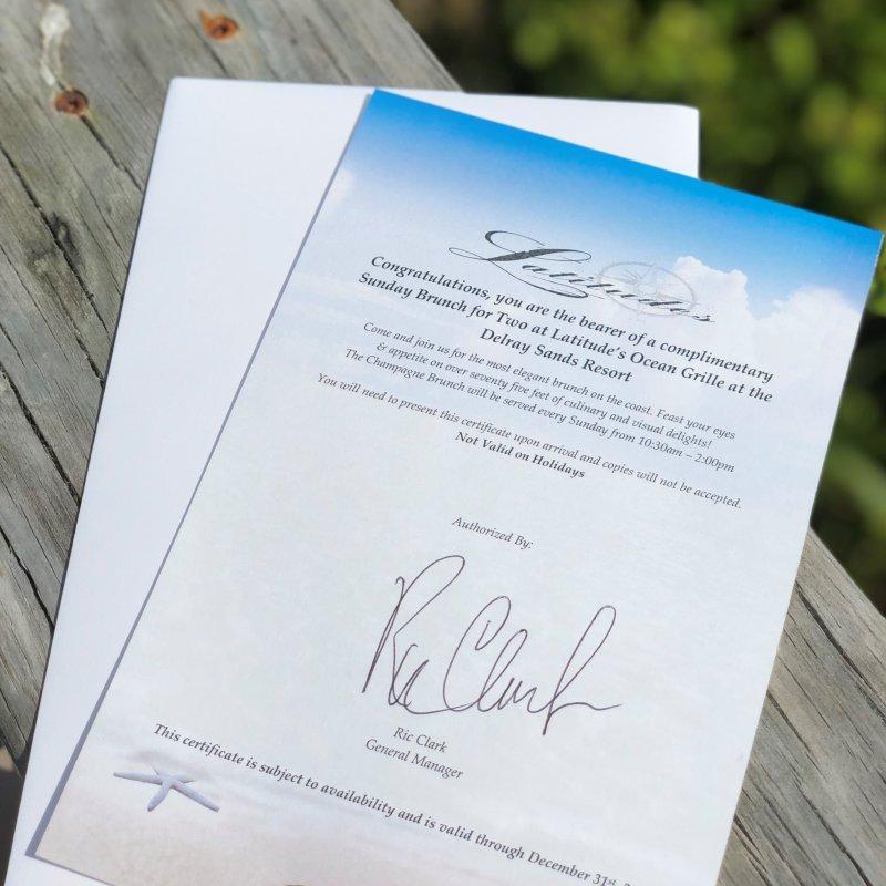 Brunch Certificate