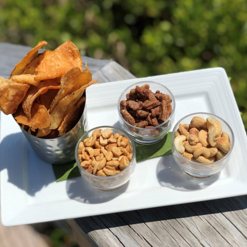 Mix nuts and homemade chips