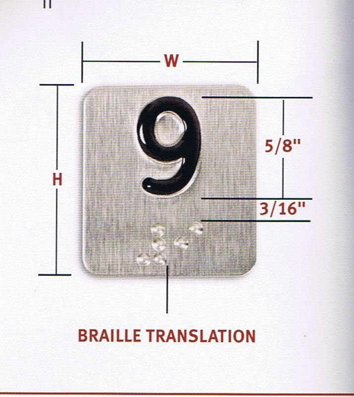 BP125S CAR STATION BRAILLE 1.25 X 1.25, STAINLESS BACKGROUND/BLACK CHARACTER