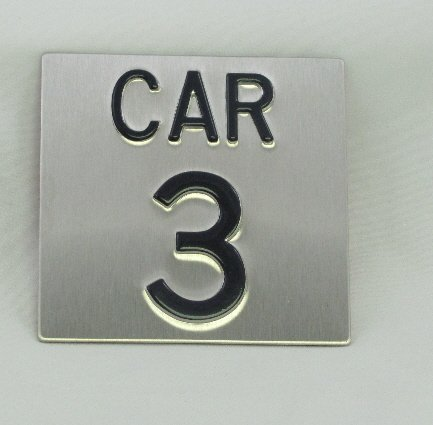 Image 0 of CAR44SS Elevator Identification Plate 4 x 4 Stainless Background/Black Character