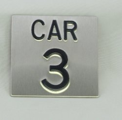 CAR44SS Elevator Identification Plate 4 x 4 Stainless Background/Black Character