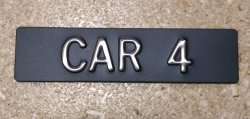 CAR14 Elevator Identification Plate 1 x 4 Black Background/Stainless Character