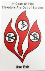 FSICF-58-H-FLEX IN CASE OF FIRE SIGN, PLASTIC, 5X8 WITH FULL ADHESIVE BACKING