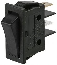 Rocker Switch SP/ST; 20A 125V AC BLACK BODY/BLACK ROCKER