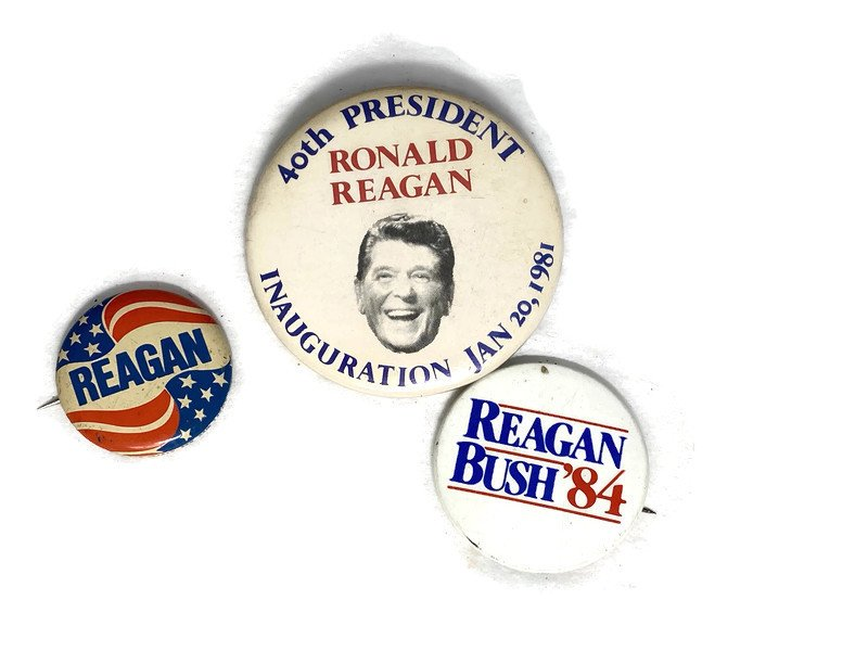 Image 0 of Vintage Political Campaign Buttons Ronald Reagan