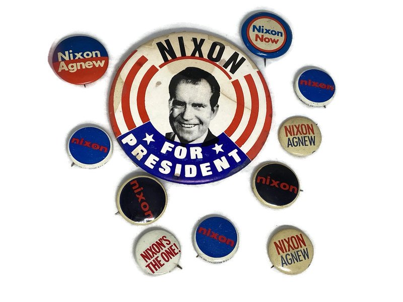 Image 0 of Vintage Political Campaign Buttons Richard Nixon