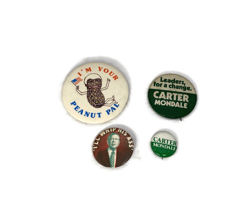 Image 0 of Vintage Political Campaign Buttons Jimmy Carter
