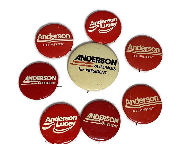 Image 1 of Vintage Political Campaign Buttons Anderson