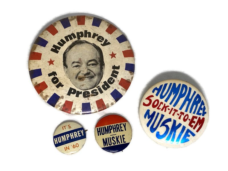 Image 0 of Vintage Political Campaign Buttons Humphrey