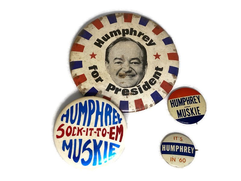 Image 1 of Vintage Political Campaign Buttons Humphrey