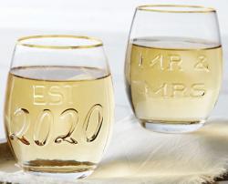 Mr & Mrs Embossed Wine Glass Set