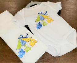 Animal Carousel Baby Onesie Set