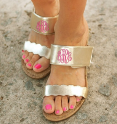 Monogrammed Gold Wedge Cork Sandals