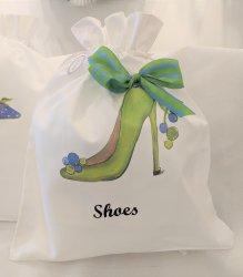 Green Pom Pom High Heel Shoe Bag