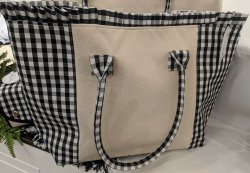 Canvas & Gingham Ruffle Travel Tote