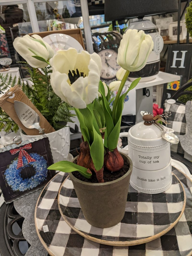 Image 0 of Real Touch Potted White Tulips