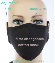 Face Mask Solid Black with Carbon Filter