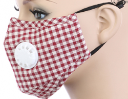 Adult BREATH Valve Dark RED/WHITE Plaid FACE MASK with Carbon Filter