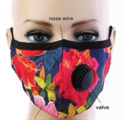 Adult BREATH Valve Grey/Black/White CHECK FACE MASK with Carbon Filter