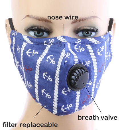 Image 0 of Adult BREATH Valve NAUTICAL ANCHORS FACE MASK with Carbon Filter