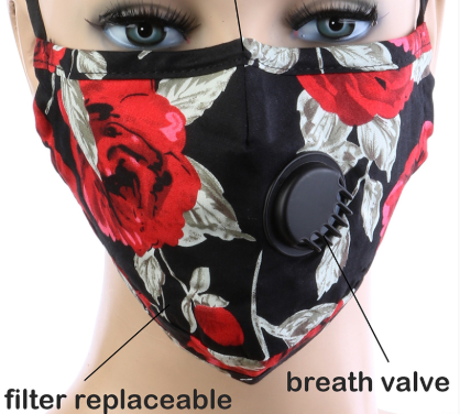 Image 0 of Adult BREATH Valve RED WHITE FLORAL FACE MASK with Carbon Filter