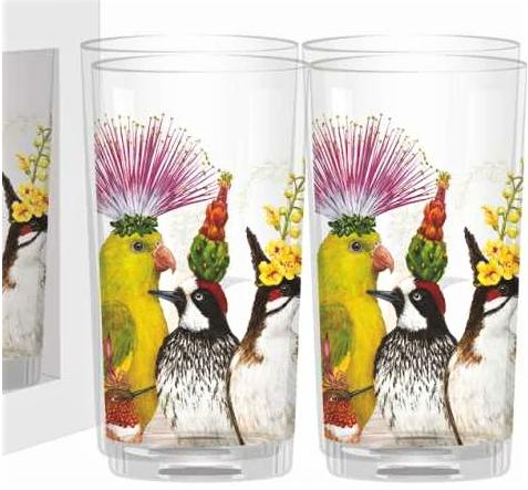 Image 1 of Entourage Birds Glasses SET of Four