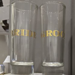 Bride & Groom Tall SHOT GLASS Set of 2