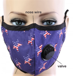 Adult BREATH Valve Patriotic STARS FACE MASK with Carbon Filter