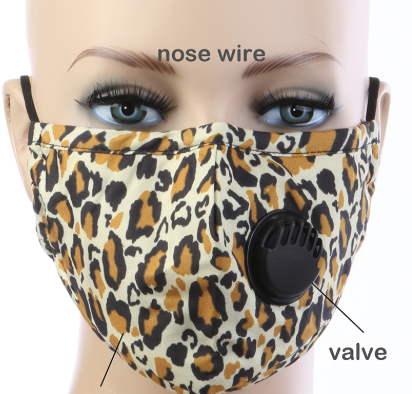Image 0 of Adult BREATH Valve Face Mask ANIMAL Print