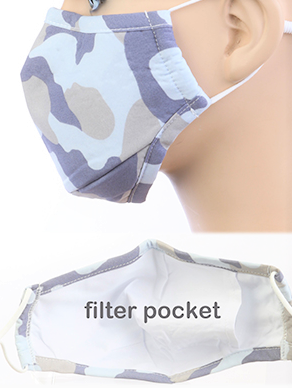 Image 0 of Child's Gray CAMO Face Mask with Carbon Filter