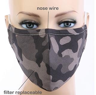 Image 0 of ADULT Dark CAMO Print Face Mask with Carbon Filter