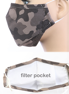 Image 1 of ADULT Dark CAMO Print Face Mask with Carbon Filter
