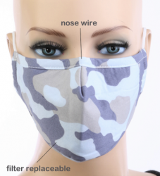 ADULT LIGHT CAMO Print Face Mask with Carbon Filter