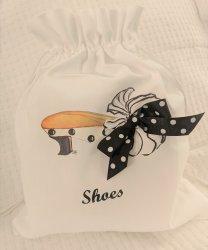 Black and White Polka Dot Mule Shoe Bag