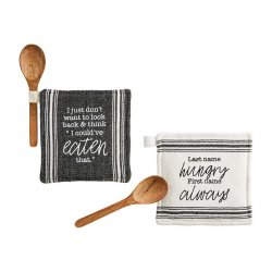 White with Black Striping Potholder & Spoon Set