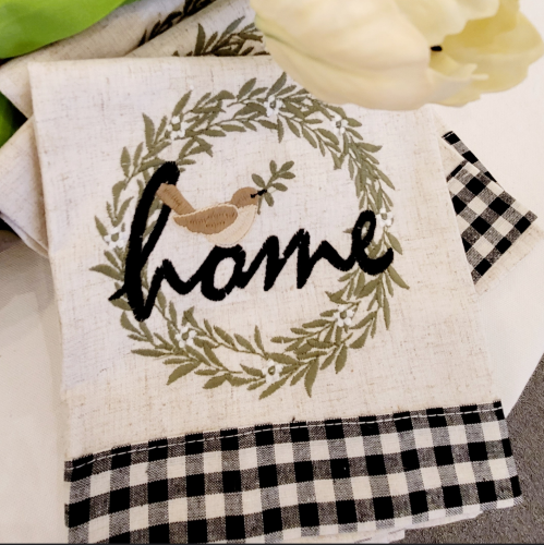 Image 0 of Embroidered Bird Wreath Towel